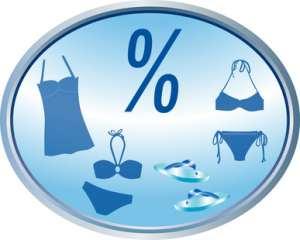 Eine Marke mit einem Prozentzeichen und Klamotten