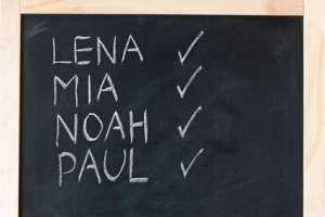 Eine Liste von normalen Vornamen auf einer Kreidetafel