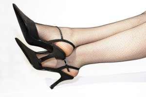 Schwarze spitze Damenschuhe