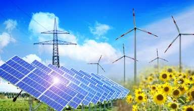 Die verschiedenen Arten von erneuerbarer Energie auf einem Bild