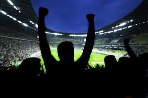 Fußball Fans feiern im Stadion