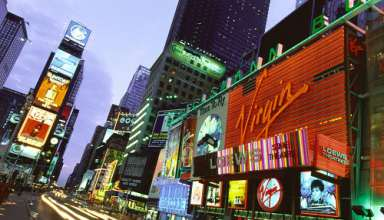 Times Square bei Nacht, Manhattan, New York, USA