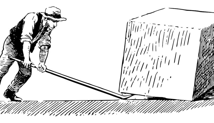 Eine Karikatur die das Hebelprinzip verdeutlicht.